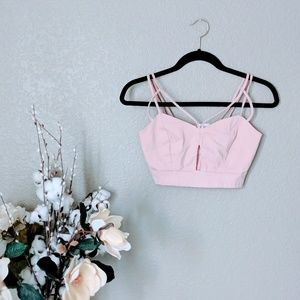 Charlotte Russe Pink Fitted Strappy Crop Top Sz S